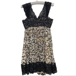 Marchesa Notte animal print dress black lace 511